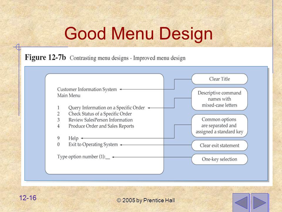 Good Menu Design
