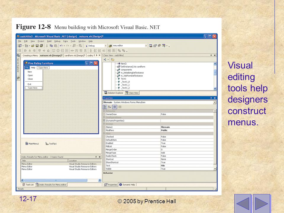 Visual editing tools help designers construct menus.