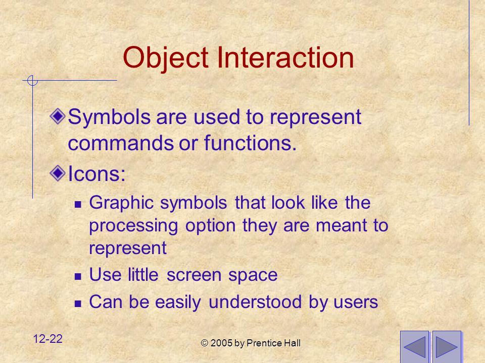 Object Interaction Symbols are used to represent commands or functions. Icons: