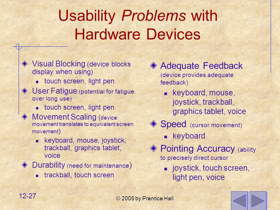 Usability Problems with Hardware Devices