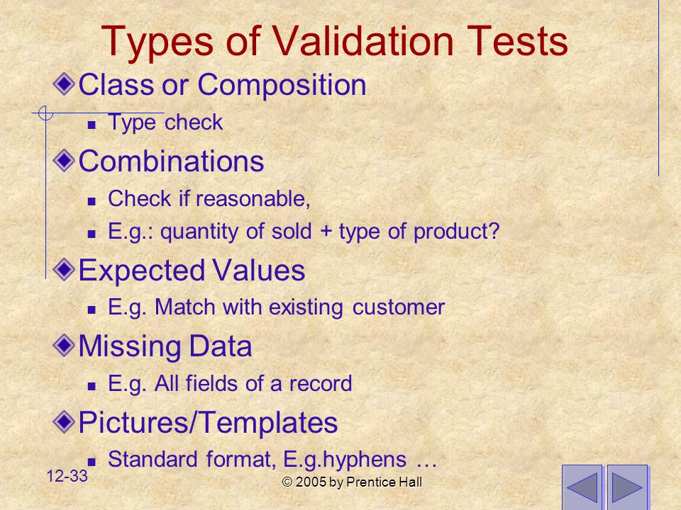 Types of Validation Tests