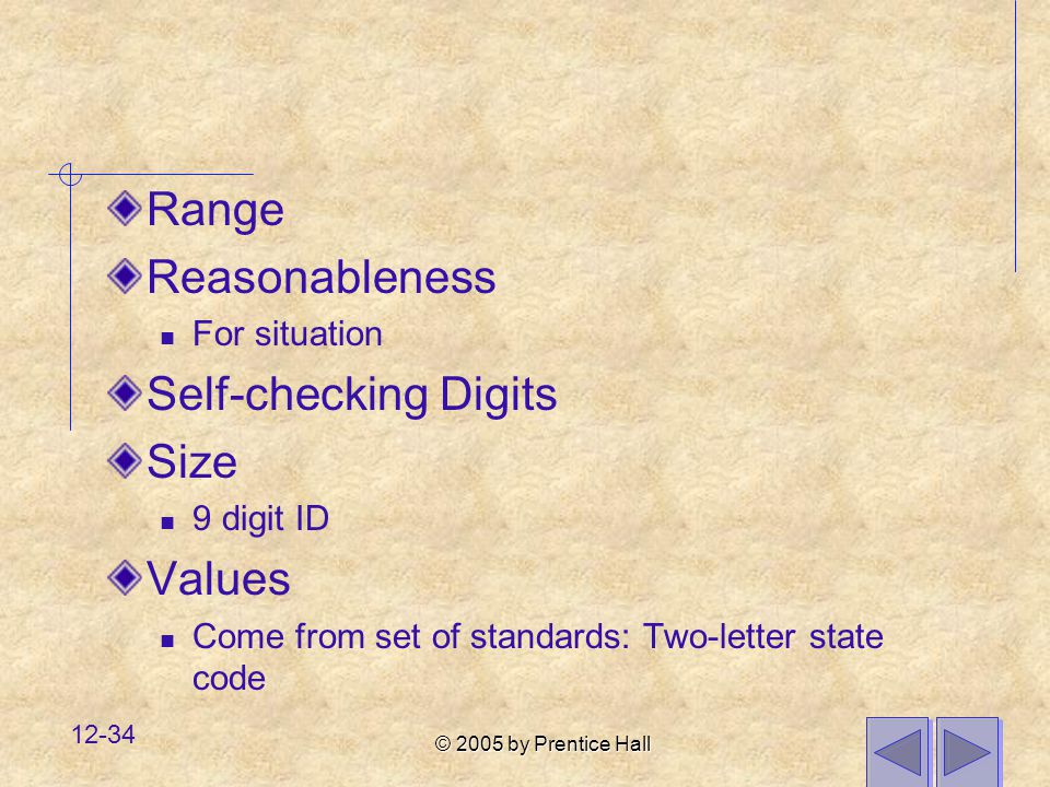 Range Reasonableness Self-checking Digits Size Values For situation