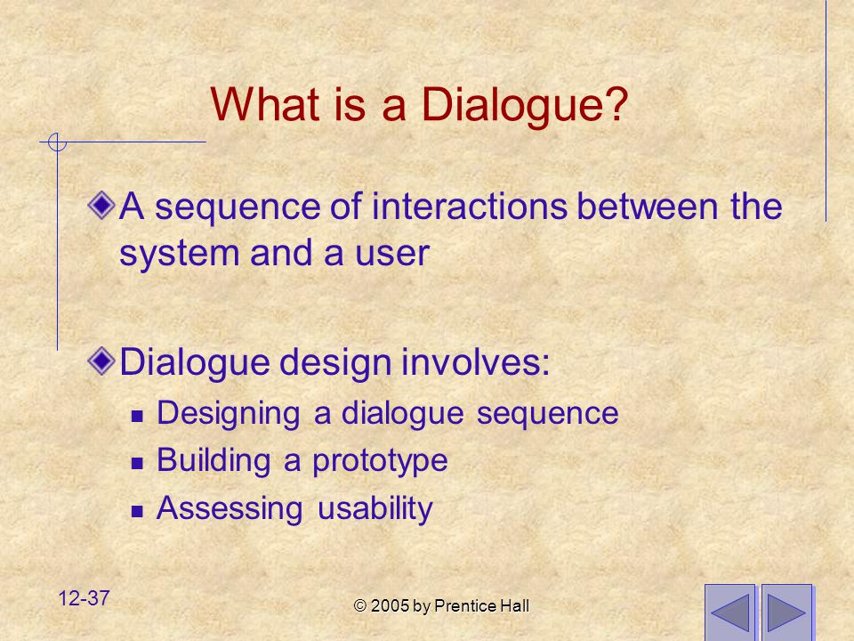 What is a Dialogue A sequence of interactions between the system and a user. Dialogue design involves: