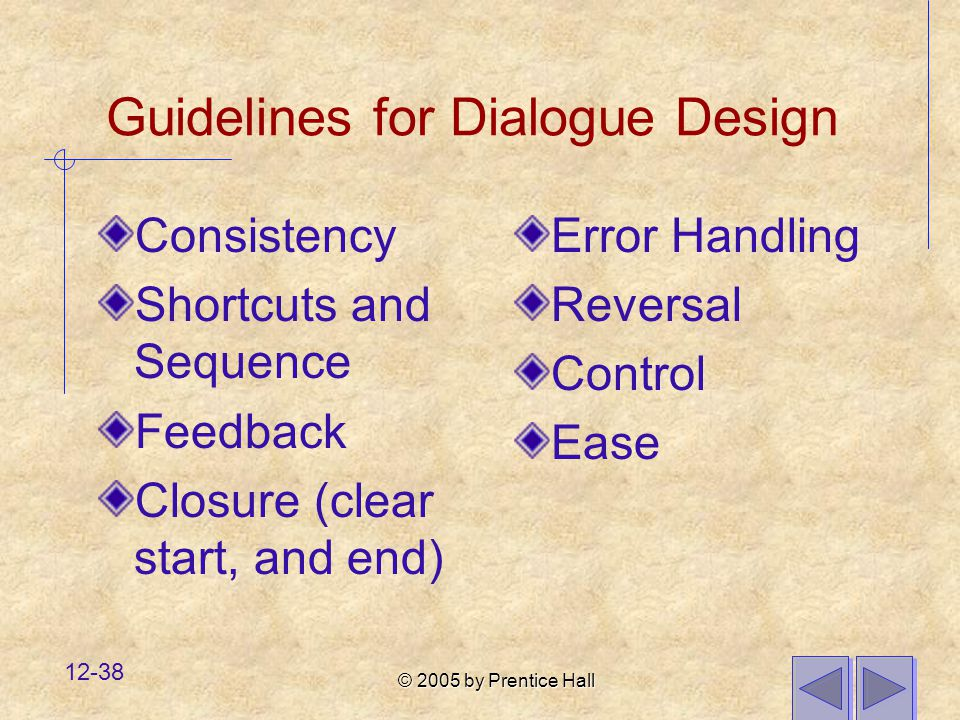 Guidelines for Dialogue Design