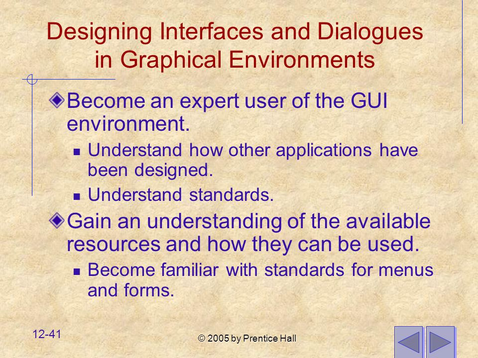 Designing Interfaces and Dialogues in Graphical Environments