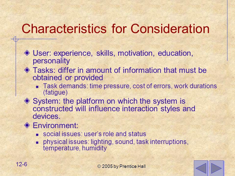 Characteristics for Consideration