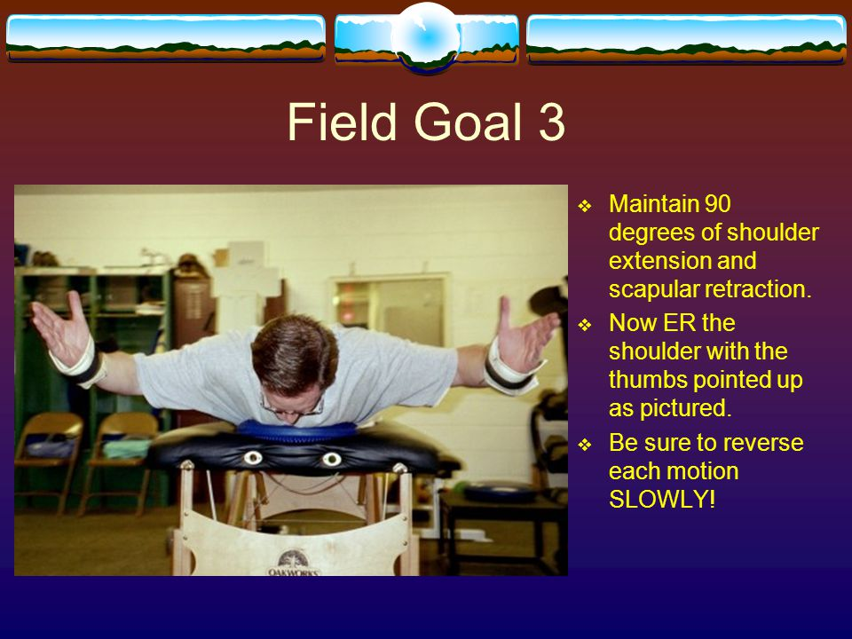Field Goal 3 Maintain 90 degrees of shoulder extension and scapular retraction. Now ER the shoulder with the thumbs pointed up as pictured.