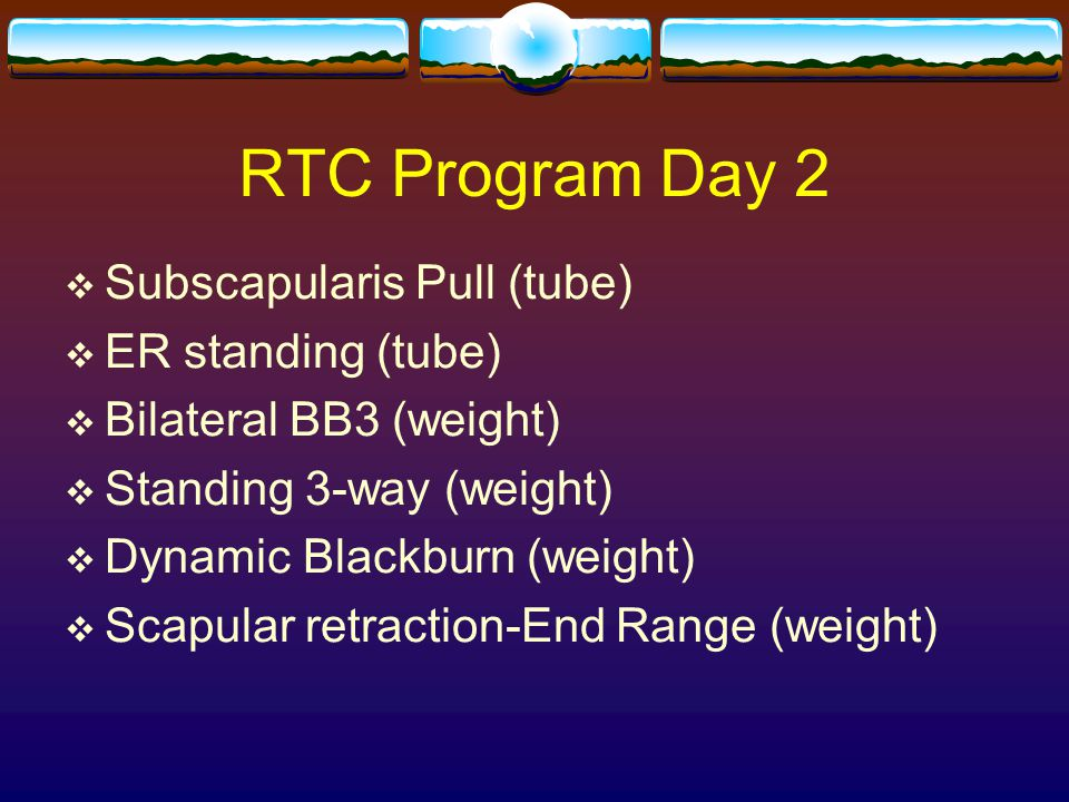 RTC Program Day 2 Subscapularis Pull (tube) ER standing (tube)