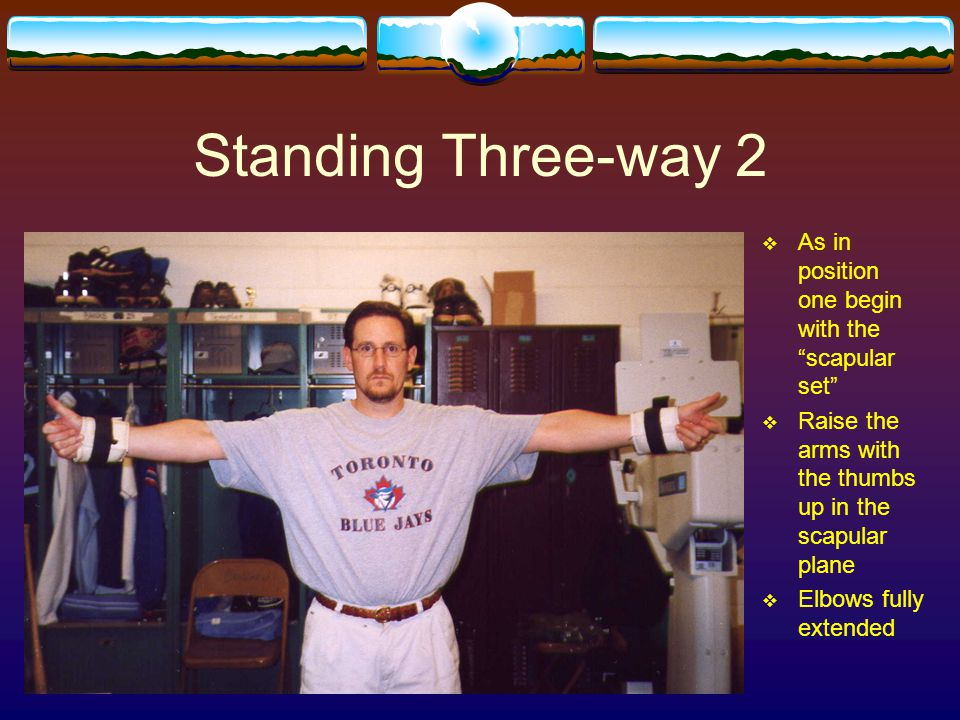Standing Three-way 2 As in position one begin with the scapular set