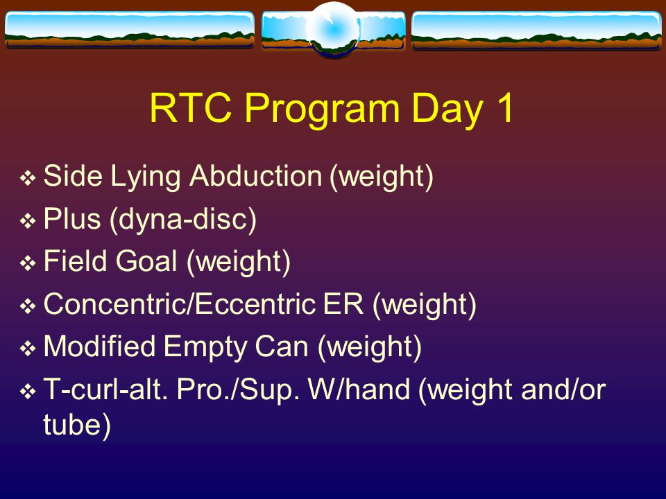 RTC Program Day 1 Side Lying Abduction (weight) Plus (dyna-disc)