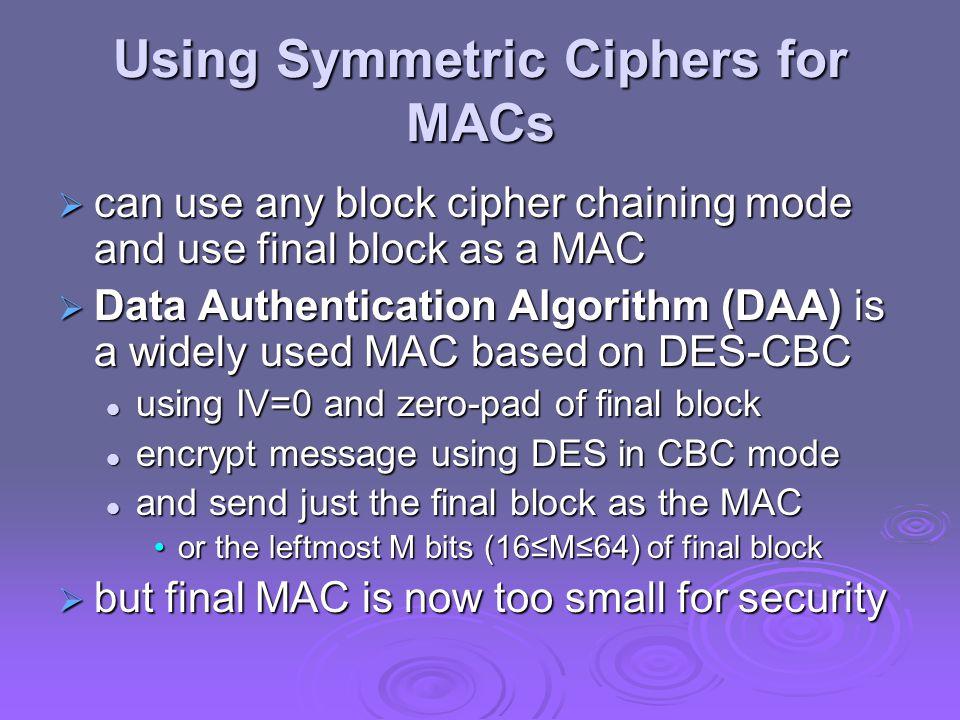 Using Symmetric Ciphers for MACs