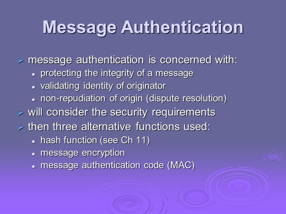 Message Authentication