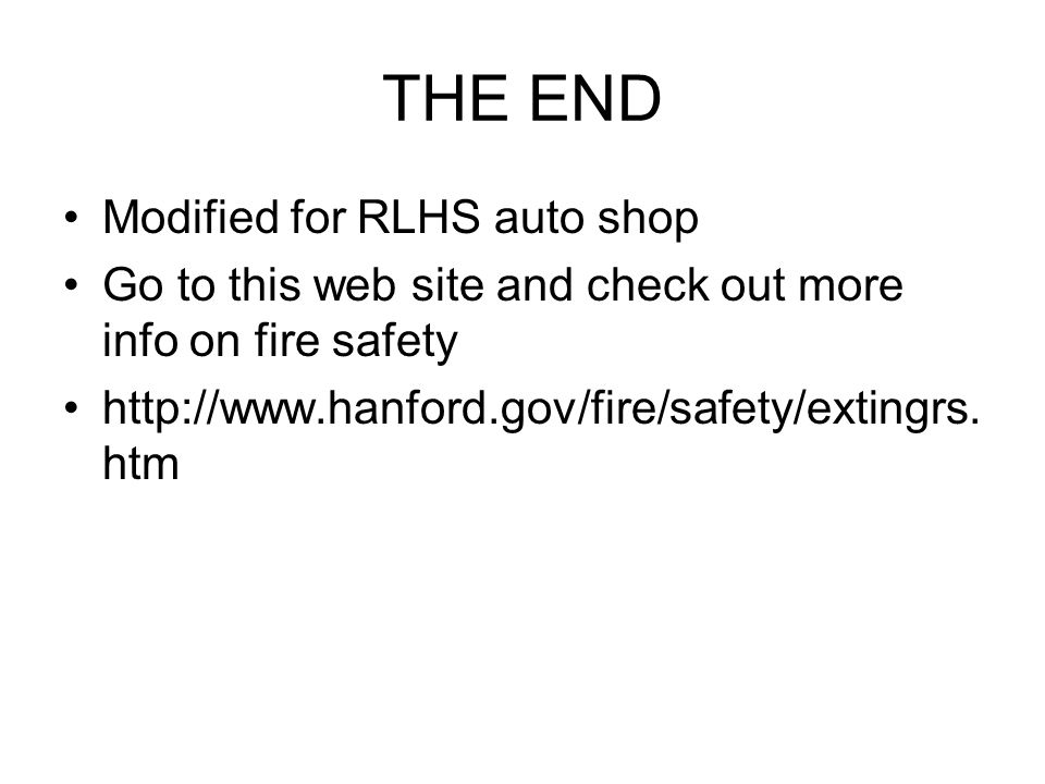 THE END Modified for RLHS auto shop
