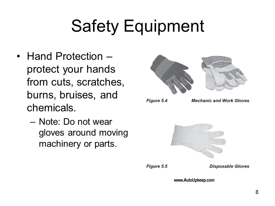 Safety EquipmentHand Protection – protect your hands from cuts, scratches, burns, bruises, and chemicals.