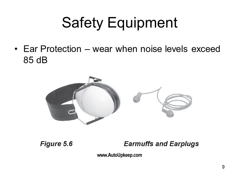 Safety Equipment Ear Protection – wear when noise levels exceed 85 dB