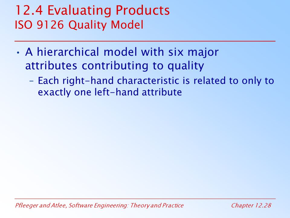 12.4 Evaluating Products ISO 9126 Quality Model