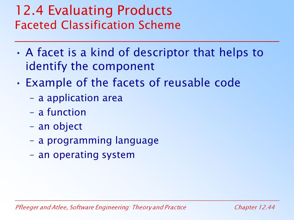 12.4 Evaluating Products Faceted Classification Scheme