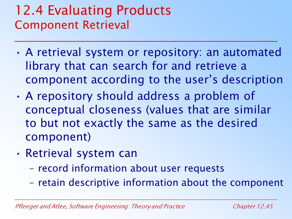 12.4 Evaluating Products Component Retrieval