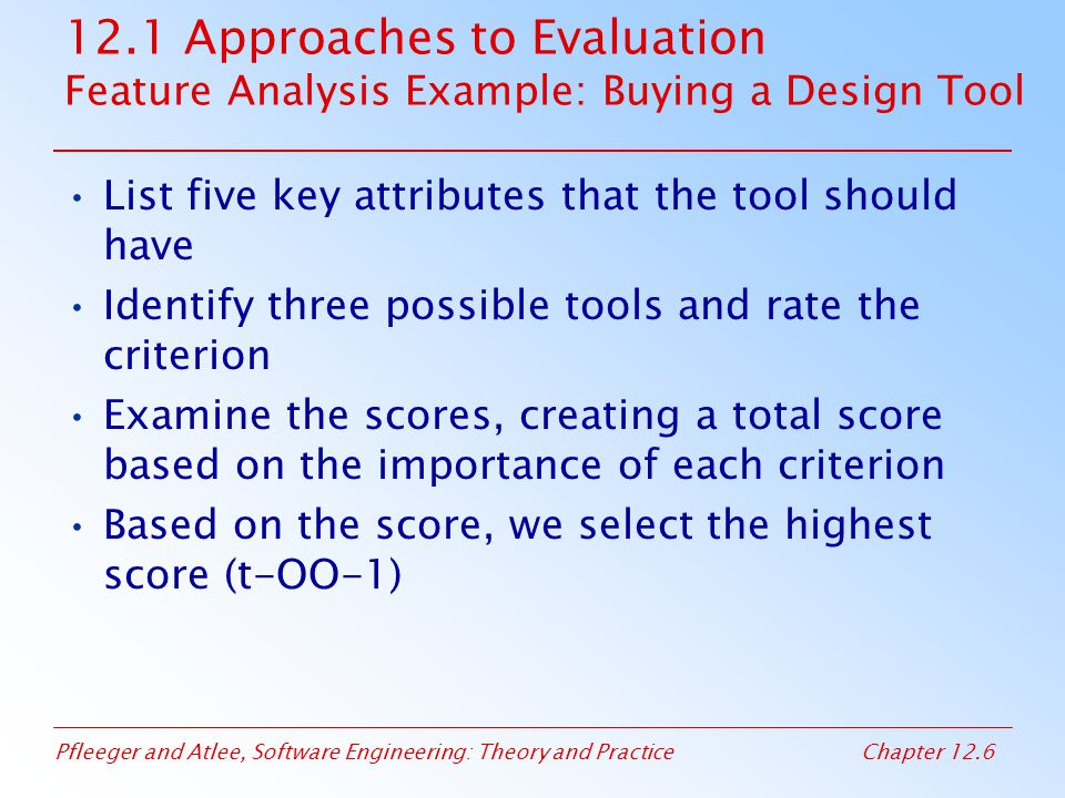 12.1 Approaches to Evaluation Feature Analysis Example: Buying a Design Tool