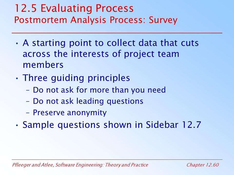12.5 Evaluating Process Postmortem Analysis Process: Survey