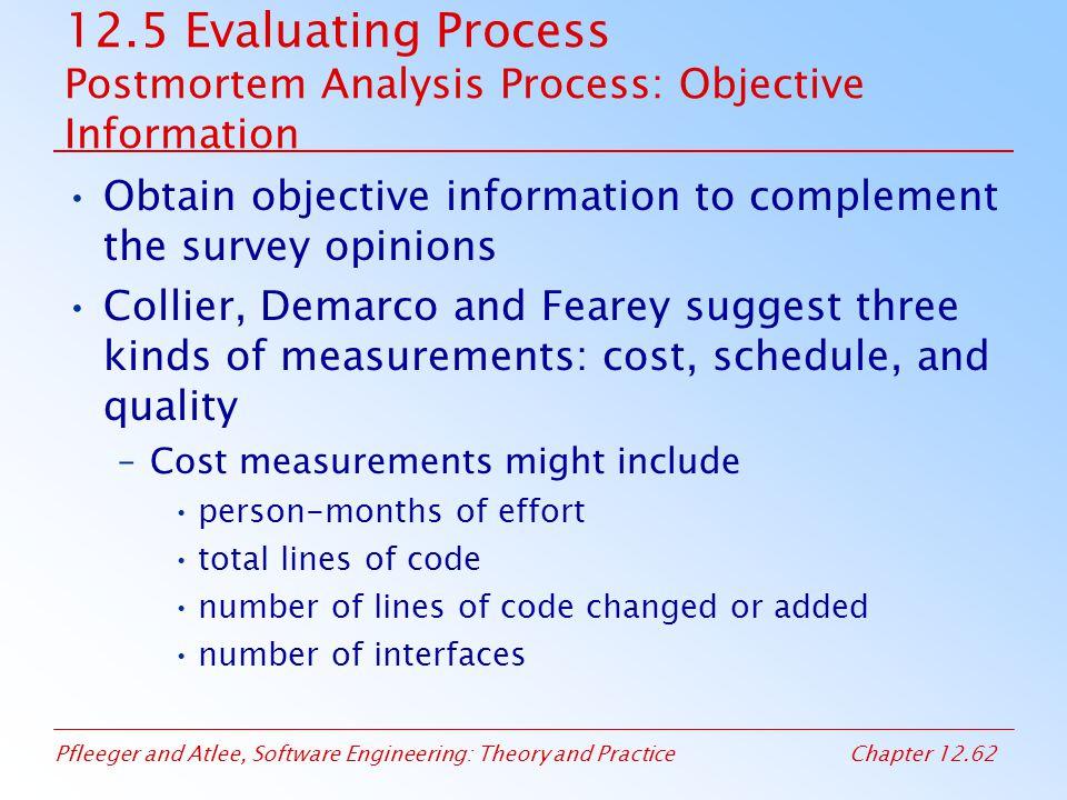 12.5 Evaluating Process Postmortem Analysis Process: Objective Information