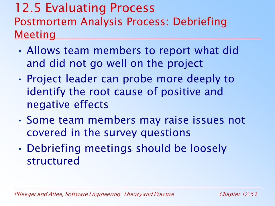 12.5 Evaluating Process Postmortem Analysis Process: Debriefing Meeting