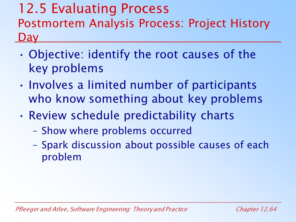 12.5 Evaluating Process Postmortem Analysis Process: Project History Day