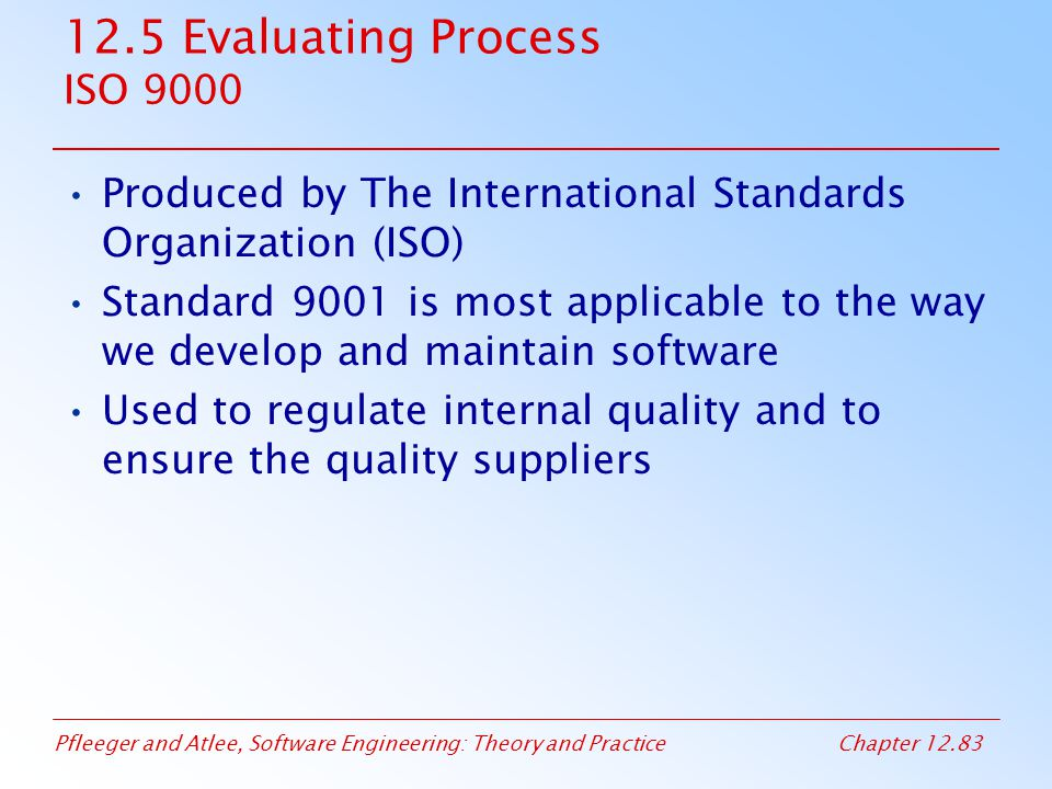 12.5 Evaluating Process ISO 9000