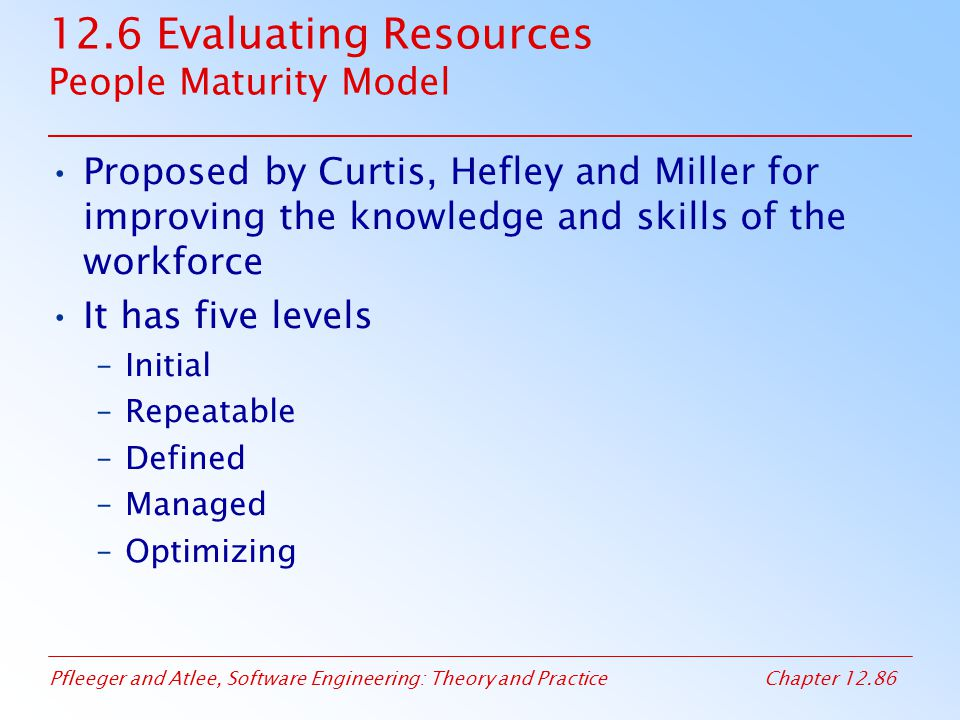 12.6 Evaluating Resources People Maturity Model