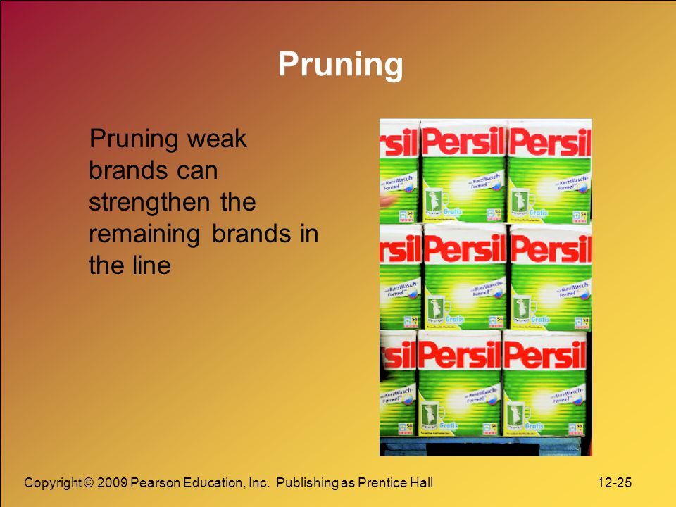 Pruning Pruning weak brands can strengthen the remaining brands in the line.