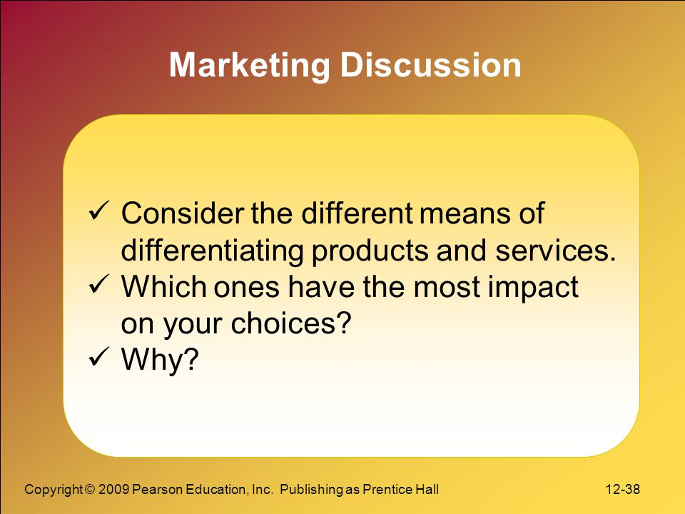 Marketing Discussion Consider the different means of