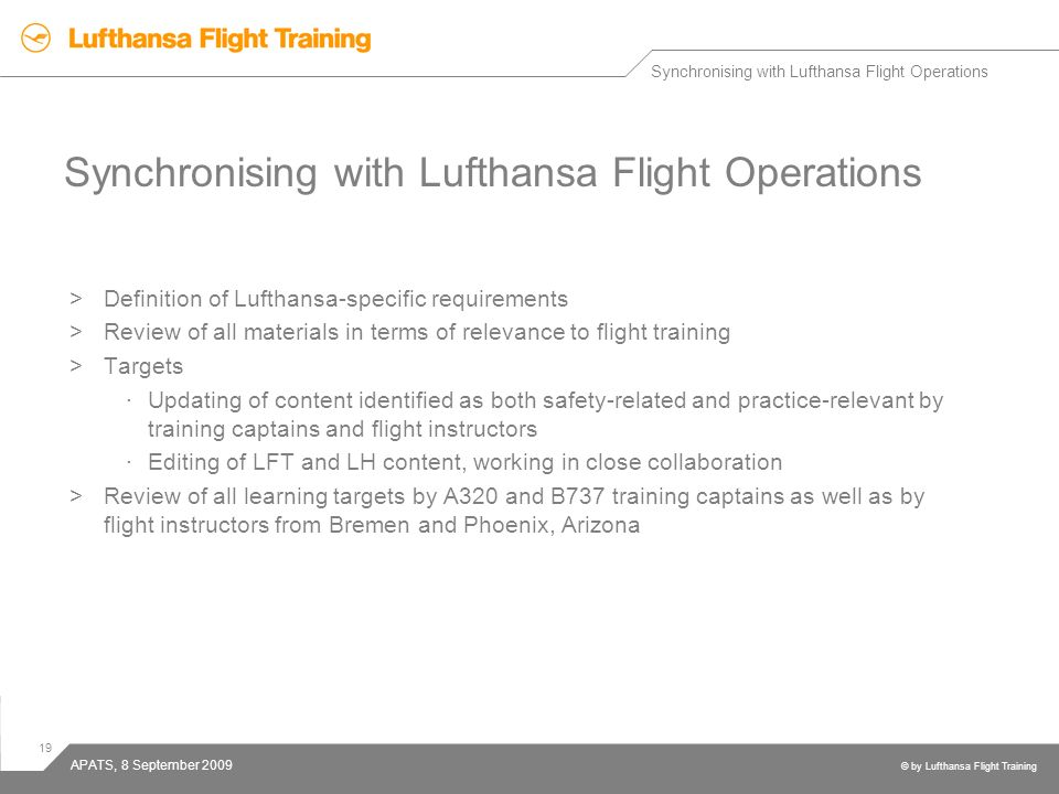 Synchronising with Lufthansa Flight Operations