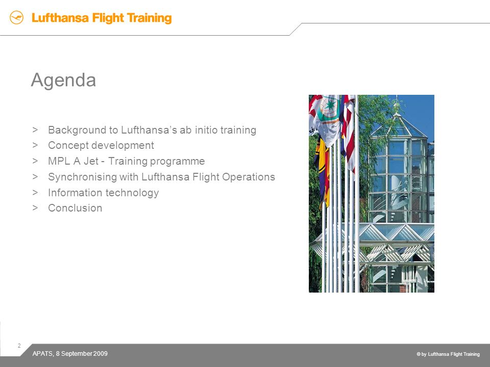 Agenda Background to Lufthansa's ab initio training