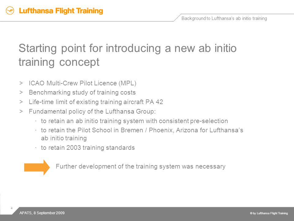 Starting point for introducing a new ab initio training concept