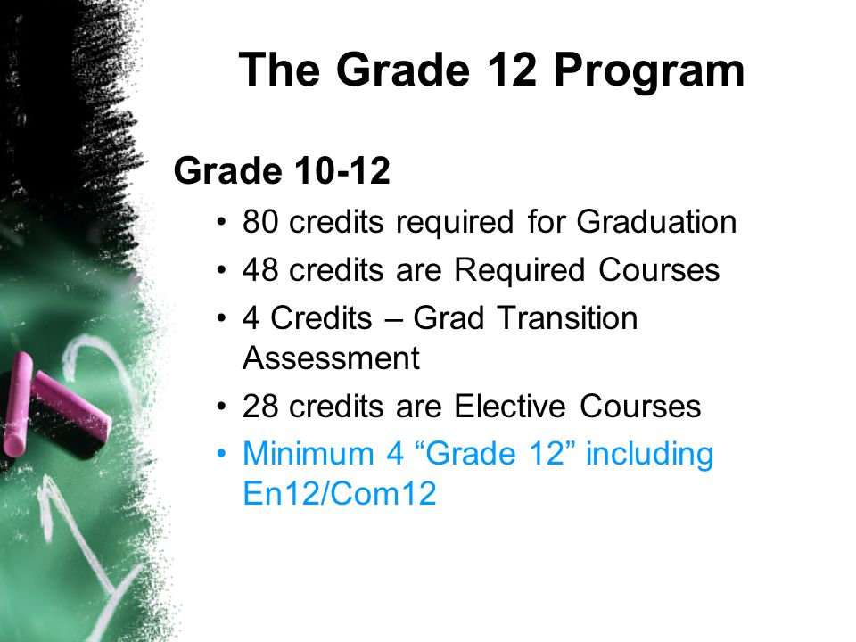 The Grade 12 Program Grade 10-12 80 credits required for Graduation