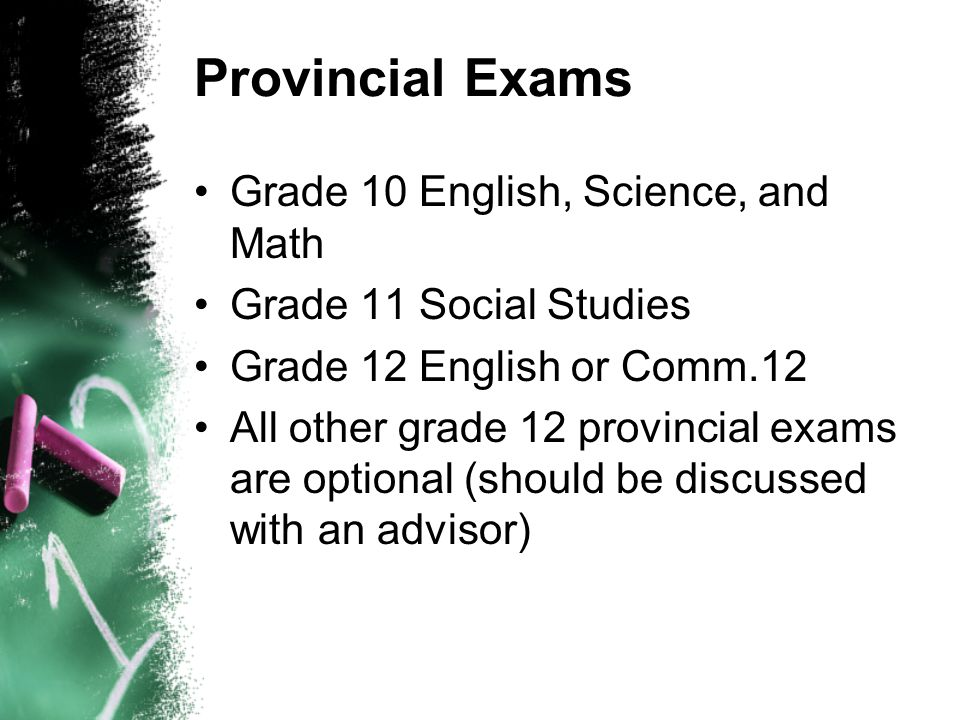 Provincial Exams Grade 10 English, Science, and Math