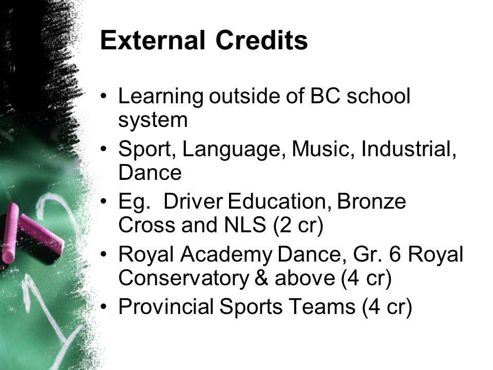 External Credits Learning outside of BC school system