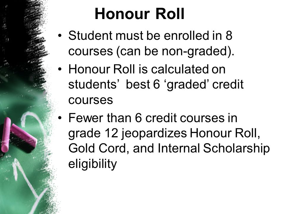 Honour Roll Student must be enrolled in 8 courses (can be non-graded).