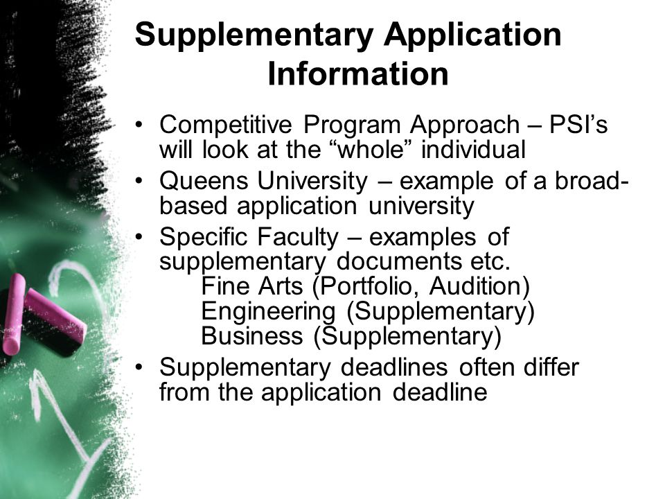 Supplementary Application Information
