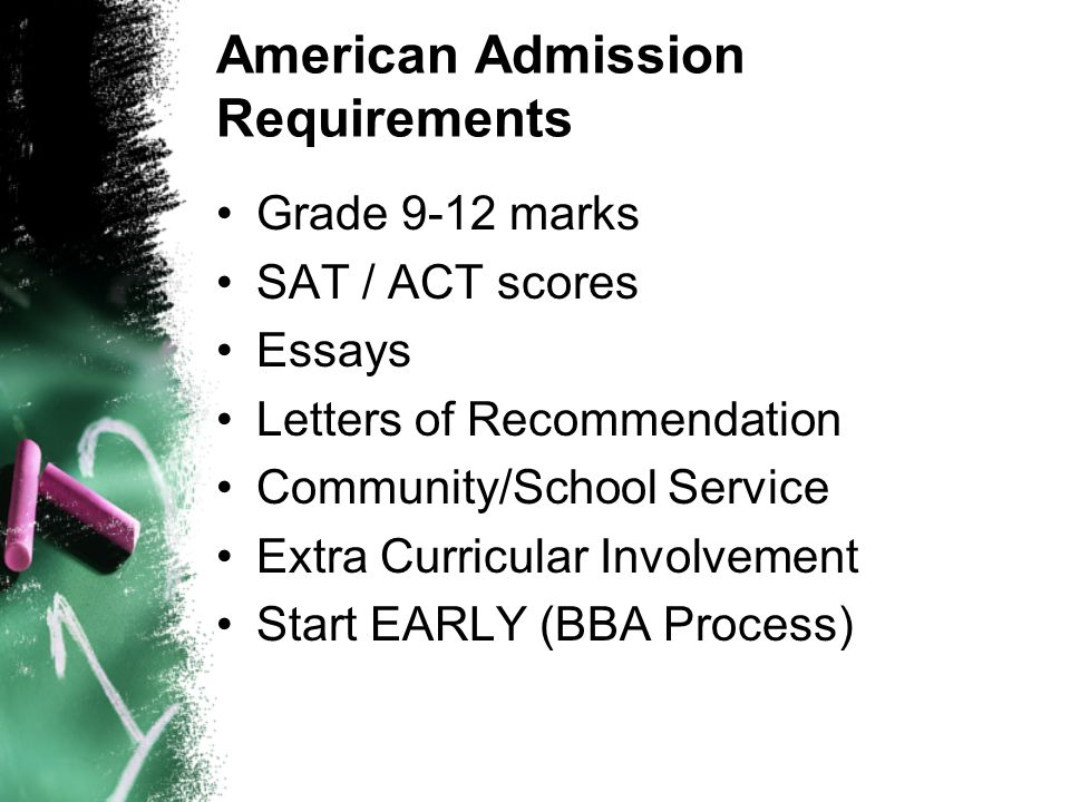 American Admission Requirements