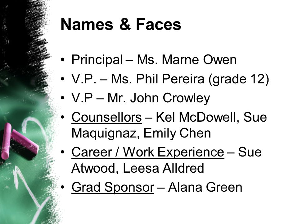 Names & Faces Principal – Ms. Marne Owen