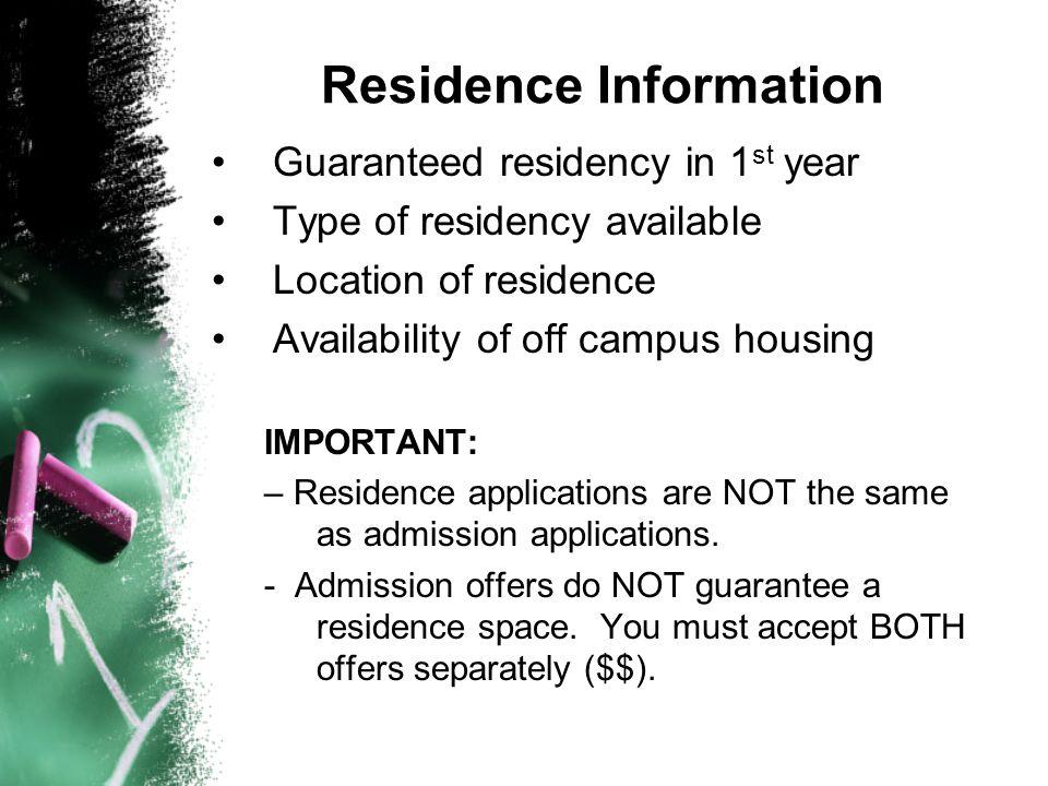 Residence Information