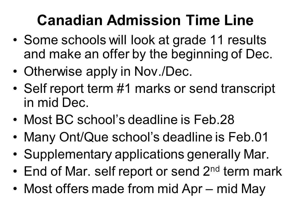 Canadian Admission Time Line
