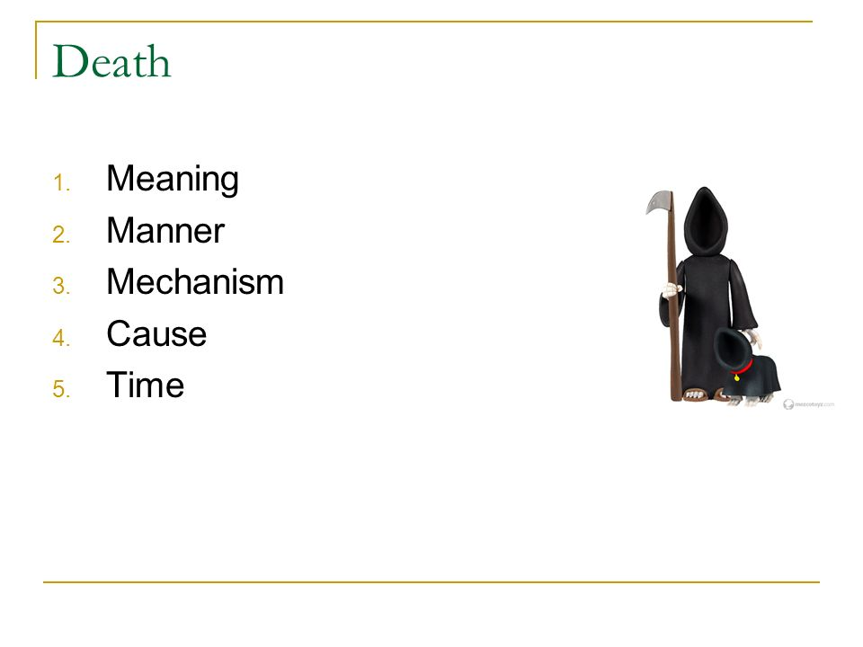 Death Meaning Manner Mechanism Cause Time