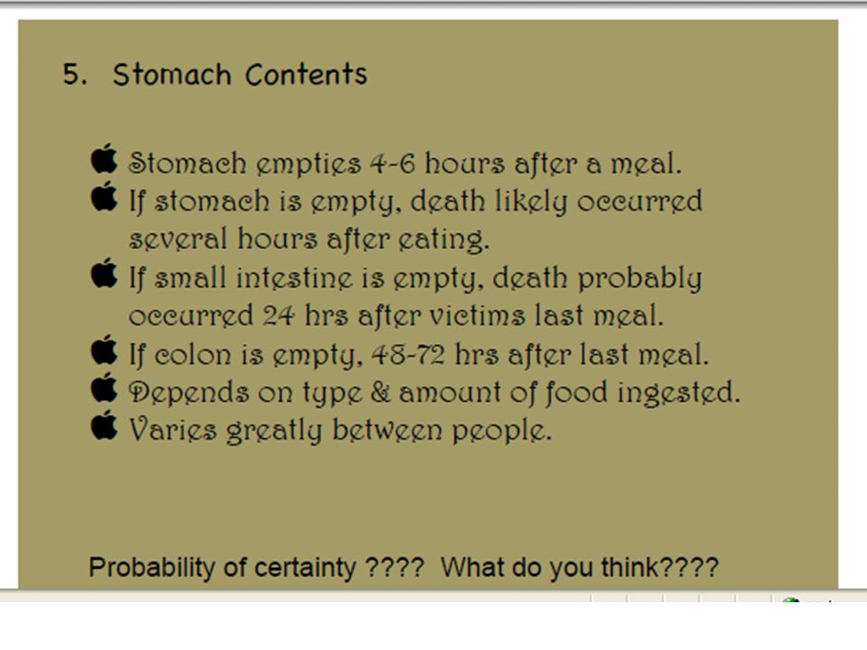 5. Stomach Contents