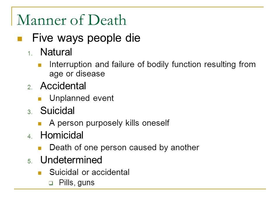Manner of Death Five ways people die Natural Accidental Suicidal