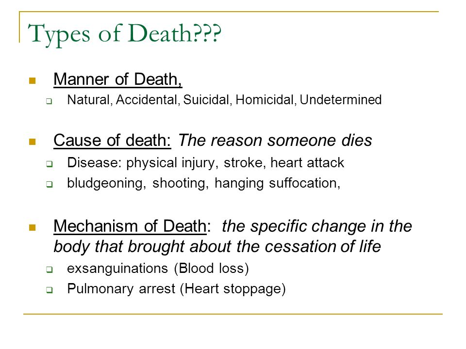 Types of Death Manner of Death,