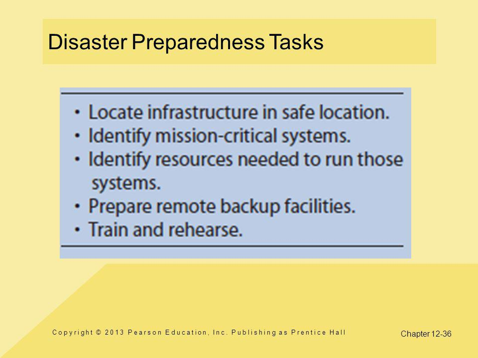 Disaster Preparedness Tasks