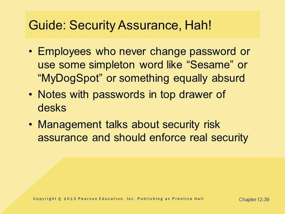 Guide: Security Assurance, Hah!
