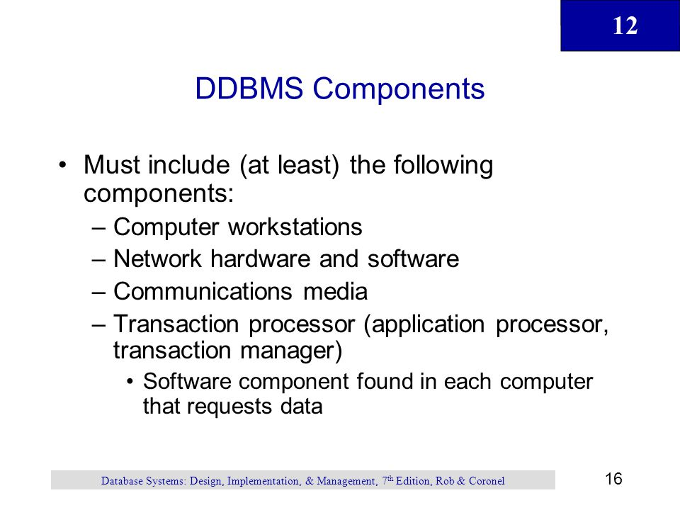 DDBMS Components Must include (at least) the following components: